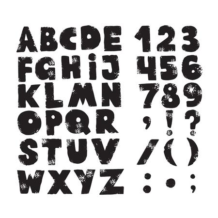 Lettere della spruzzata dell'inchiostro di afflizione di lerciume. Carattere di lettera trama sporca. Alfabeto. Vettore.