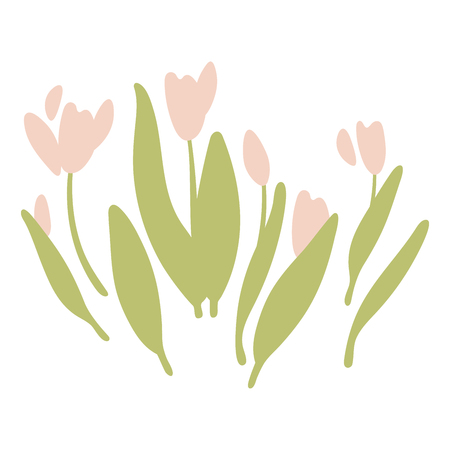 Isolated tulips flowers. Floral nature doodle illustration flower. Greeting easter card. 일러스트