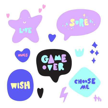 Hand drawn vector illustration of a funny stickers and phrases. Isolated objects on white background. Teen spirit, children print.