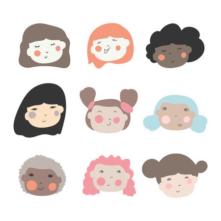 Cute doodle ilustracje pięknych młodych dziewcząt z różnymi fryzurami. Różne narodowość etniczna przynależność kobieta głowa twarz wektor ikony. Ilustracje wektorowe