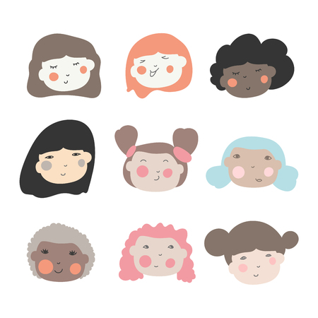 Süße Doodle-Ilustrationen von schönen jungen Mädchen mit verschiedenen Frisuren. Verschiedene ethnische Nationalität Zugehörigkeit Frau Kopf Gesicht Vektor-Icons. Vektorgrafik