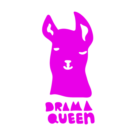 No drama llama. Drama Queen. Cute pink alpaca cartoon character. Vector illustration with lettering quote. Llama design for card, birthday, poster, t-shirt, invitation, room decor, poster for prints Иллюстрация