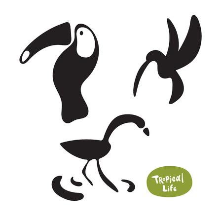 Vector set beautiful exotic birds of the Amazon rain forest. Toucan, hummingbird and flamingo doodle isolated silhouettes on white background Ilustrace