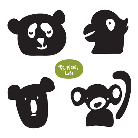 Vector set of sketches of funny doodle drawn animals. Monkey, koala, panda, parrot vector isolated silhouettes on white background