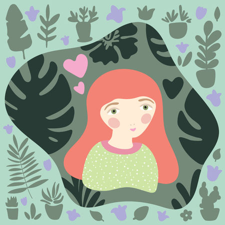 Red-haired girl in green jersey with dotted pattern. Gardening and planting hobby for children. Illusztráció