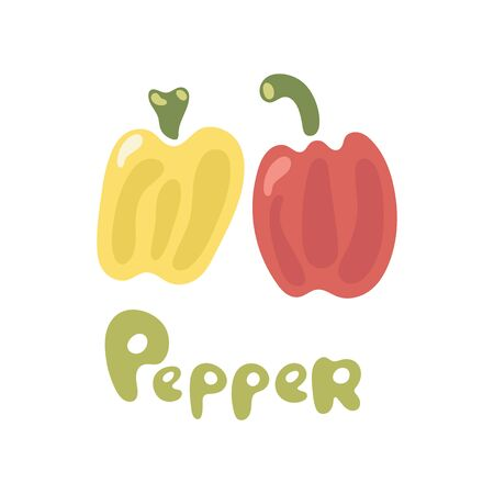 Fresh red and yellow peppers vegetable isolated icon with title. Peppers for farm market, vegetarian salad recipe design. Vector illustration in flat style.  イラスト・ベクター素材