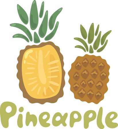 Summer fruits for healthy lifestyle. Pineapple fruit. Vector illustration cartoon flat icon isolated on white