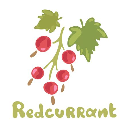 Redcurrant Vector Isolated Flat Image. Ripe red berries with leaves. Healthy detox natural product. Flat design organic food. Detox and weightloss supplements. Illustration