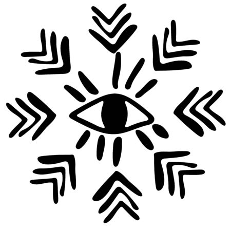 Native American culture. Image of a big open eye in boho style. Hieroglyphs and arrows arranged in a circle. Black and white flat image.