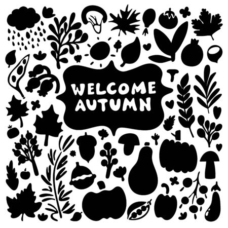 Welcome Autumn - Welcome Fall. Handwritten lettering with doodle floral elements. Black and white square greeting card. Vector element for cards, t-shirt printing and your design. Ilustracja
