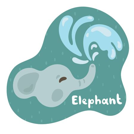 A little elephant releases a water fountain and smiles. Kid elephant in flat style. Text elephant in green speech bubble. Illustration for cards, animal abc, kids room. 向量圖像