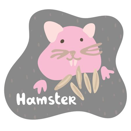 A little pink hamster eats grain and stuffs his cheeks with a food. Kid hamster in flat style. Text hamster in an brown speech bubble. Isolated images for cards, animal ABC, kids room, education games