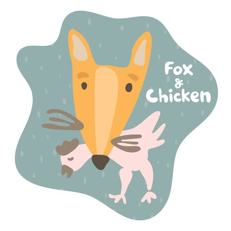 Sly fox caught prey chicken and holds in his teeth. Kid fox in flat style. Text fox and chicken. Mild dark green colored speech bubble. Isolated image for cards, animal ABC, kids room, education games
