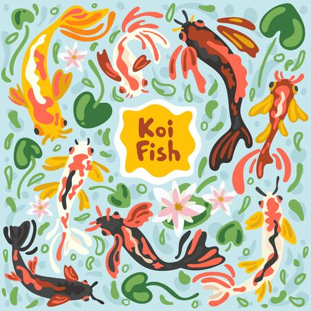 Colorful koi fishes. Vector stock illustration koi carp abstract. Japanese, Chinese swimming carps in pond with lotus leaf, floral and algae. Modern flat impressionism or doodle free hand style.