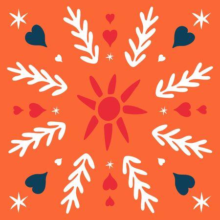 Folk square tile. Scandinavian pottery style. Folklore cliparts elements for tile, napkins, coasters, postcard, patchwork, ornament, tile mosaic. Ceramic tableware folk print. Ethnic background.