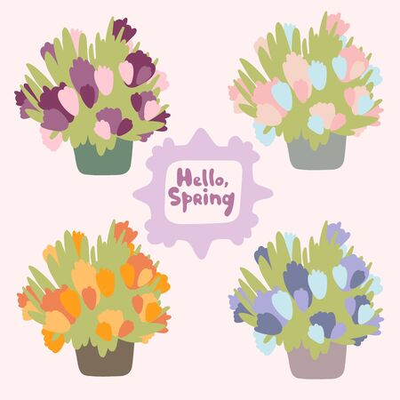 Vector seasonal greeting bucket with abstract flowers. Flat doodle style. Garden plants in tubs. Burgundy, pink, purple and orange color options. Vintage frame with text Hello, Spring