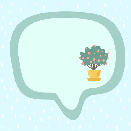 Frame for text with a dotted mint background. Speech bubble stock illustration. Square format. Cute mandarine tree in a yellow pot. Delicate shades. Ready for notebook, diary, stickers, reminders