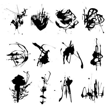 Elegant vector set of ink splashes blots splatter collection. Grunge design element, art messy backdrop. High quality manually traced vector illustration. Liquid shape spatter black white silhouette