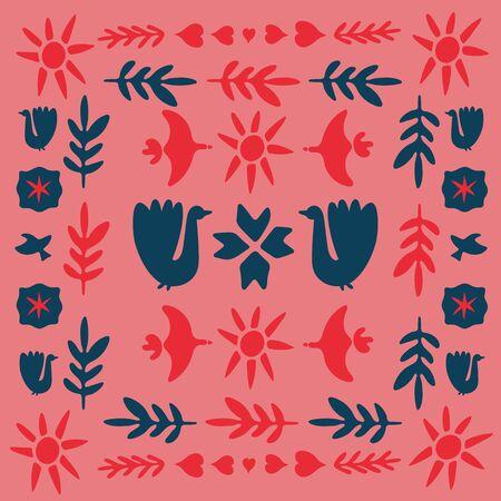 Decor inspired by traditional art form in red, pink and dark blue. Spring celebration folk doodle art square tile. Folklore cliparts elements for notebook, tile, napkins, coasters, postcard. 일러스트