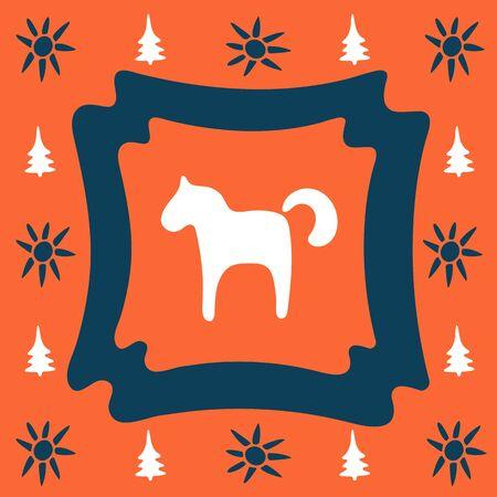 Orange folk doodle square tile with horse. Folklore clipart for tile, napkins, coasters, postcard. Patchwork, ornament, tile mosaic. Ceramic tableware, folk print, pottery. Ethnic background.