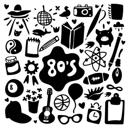 Eighties. Black and white funny set of cartoon stickers and icons in doodle style. Stickers, icons, emoji, pins or patches in doodle 80s comic style. Sketchy vector symbols and objects. Square format. Illustration