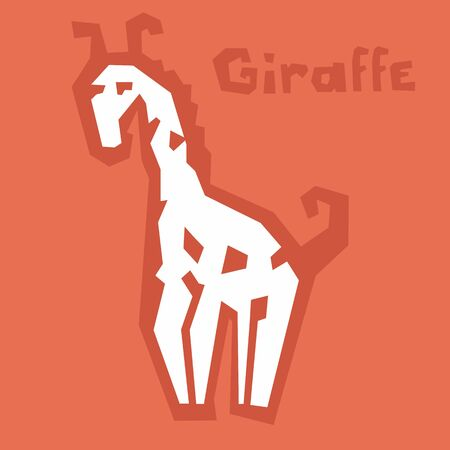 Little giraffe icon, paper cut. Brutal modern style. Abstract silhouette of an african animal on orange background with text. Interactive card for learning English alphabet. White icon, thick outline. Archivio Fotografico - 144071454
