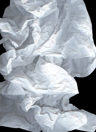 Large light elegant cloud of crumpled paper on a black background. White and gray wide crumpled paper texture background. Crushed paper, creased and wrinkled. The concept of lightness, transparency Kho ảnh