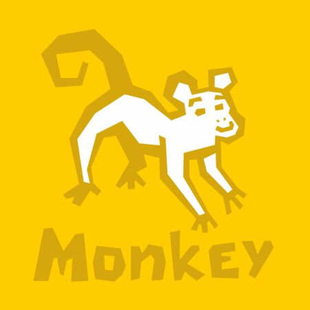 Vector stylized Monkey illustration Isolated on yellow background. Cute playful monkey icon. Brutal modern style. White icon, thick outline, text. Interactive card for learning the alphabet Vettoriali