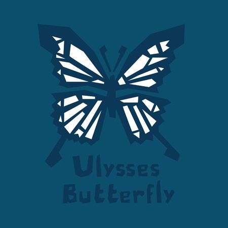 Ulysses butterfly. Papilio Ulysses. Blue Mountain Butterfly or Blue Mountain Swallowtail isolated on dark blue background. Brutal modern style. Interactive card for learning English alphabet