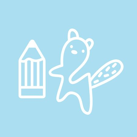Cute kawaii animal character sign get a pencil. Funny beaver    design template and symbol for web or print. Animal linear illustration in trendy minimalistic style. Modern education.