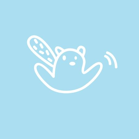 Cute kawaii animal character swings a hand. Funny beaver    design template. Symbol for web and print. Animal linear illustration in trendy minimalistic style. Modern care and education.