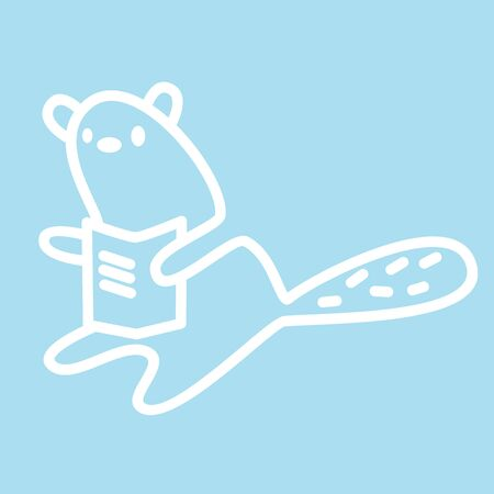 Cute kawaii animal character is reading a book. Funny beaver   design template. Symbol for web and print. Animal linear illustration in trendy minimalistic style. Modern care and education.