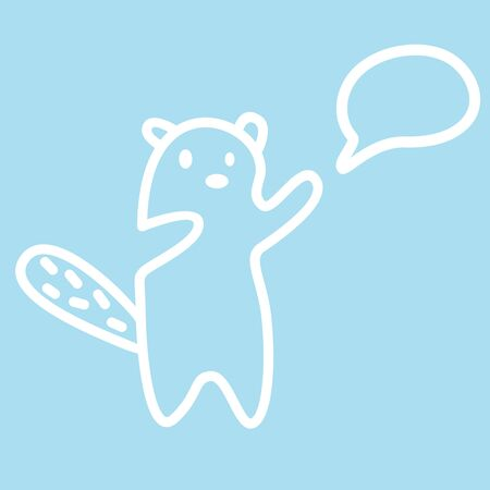 Cute kawaii animal character in learning process. Funny beaver design template. Symbol for web and print. Animal linear illustration in trendy minimalistic style. Modern education.