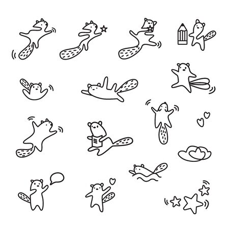 Cute kawaii animals linear set. Character in motion process playing out different situations. Funny beaver, flying squirrel    design template in minimalistic style. Modern care and education 向量圖像