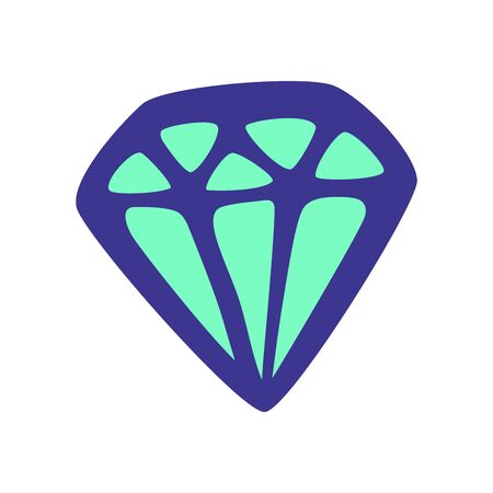 Purple diamond neon or fluorescent green lighting inside. Square format. Doodle style. Vector illustration. White background. Vectores