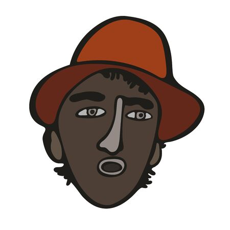 Modern minimalistic brasilian or mexican man portrait. Vector colored graffiti and tattoo style. Talking, singing latinos man in orange hat