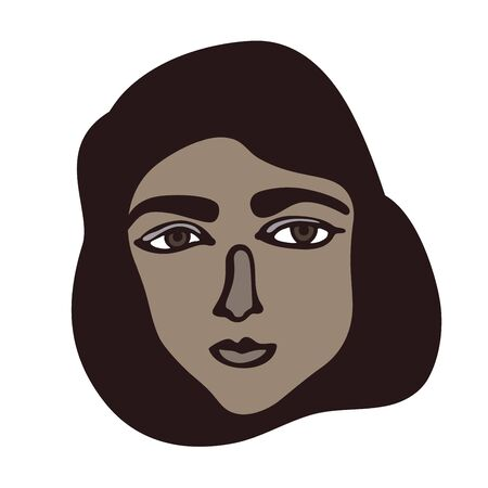 Minimalistic linear isolated female portrait. Brown face with dark eyes. Iranian, Turkish, Saudi Arabia facial features. Middle East or Mediterranean muslim girl. Primitive graphic style. Calm colour combination.