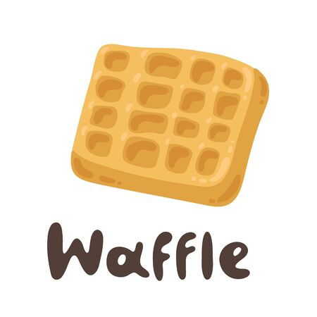 Tasty Belgian Waffle. Lovely breakfast waffle. Flour products, vector stock illustration. Viennese waffles cute cartoon icon. Clipart image with doodle text Ilustração