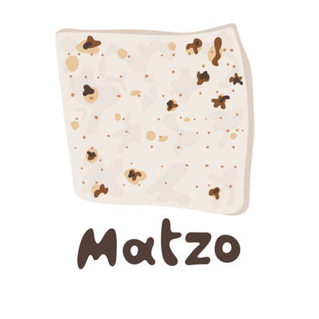 Jewish matzah bread vector illustration. Traditional matzoh pesach food. Jewish Matzah or matzo vector icon symbol isolated on white background. Logo and modern image for a food concept.