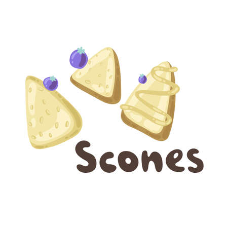 Homemade blueberry scones. Traditional English tea treats. Doodle scone or biscuit with raisins and cream isolated on white background. Triangle shaped homemade scones. Plain, glazed, blueberry chip Çizim