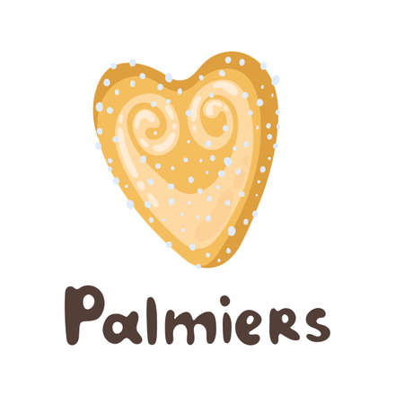 Palmier - French pastry. Puff pastry heart cookie illustration. Cartoon vector clipart doodle icon. Playful flat food illustration. Sweet food menu design elements. Great for icon, card, menu Ilustração