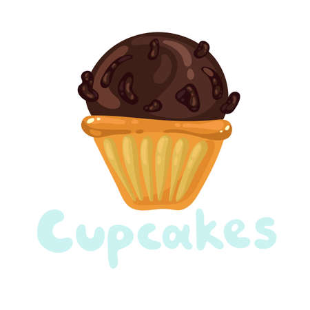 Cupcakes bakery icon. Pastry shop, confectionery. Sweet dessert design template. Cupcakes bakery icon. Dark cream muffin with chocolate whipped icing frosting. St. Valentines day flat kawaii icon