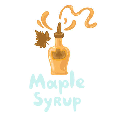 Maple syrup and topping. Tasty flavor food. Cartoon flat style. Bottle of maple syrup isolated on white, stock vector graphic illustration. Ingredient for waffles, pancakes, breakfast.