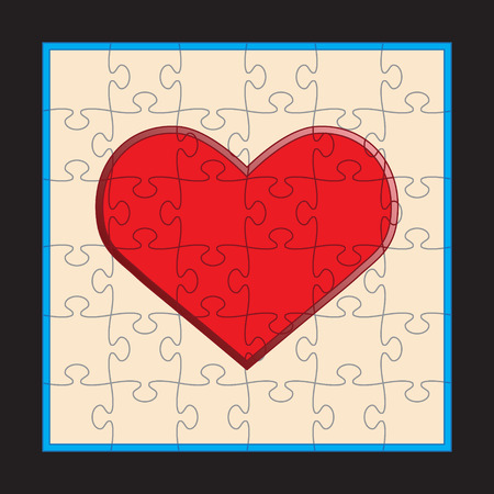 puzzle heart: Vector illustration of puzzle heart pattern Stock Photo