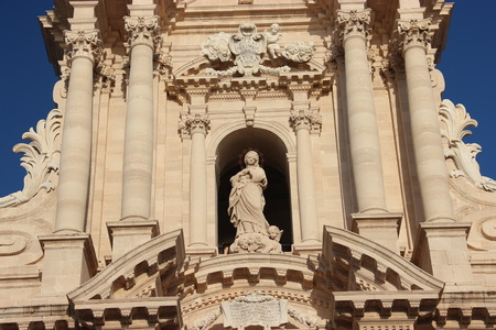 sicilia: The baroque facade of the dome in Syracuse in Sicily, Italy