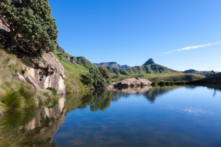 afrika: Blue water pool in the Maluti s Stock Photo