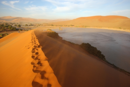 On top of the dune at Sossusvlei Stock Photo