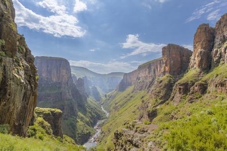 waterfall with sky: Maletsunyane River valley
