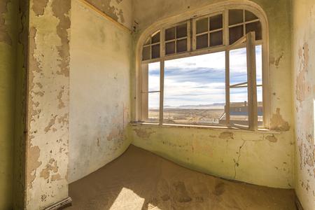 kolmannskuppe: View through the window Stock Photo