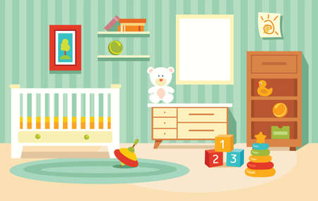 Cute children's room for a girl. Children's toys in the room. Vector illustration in a flat cartoon style.